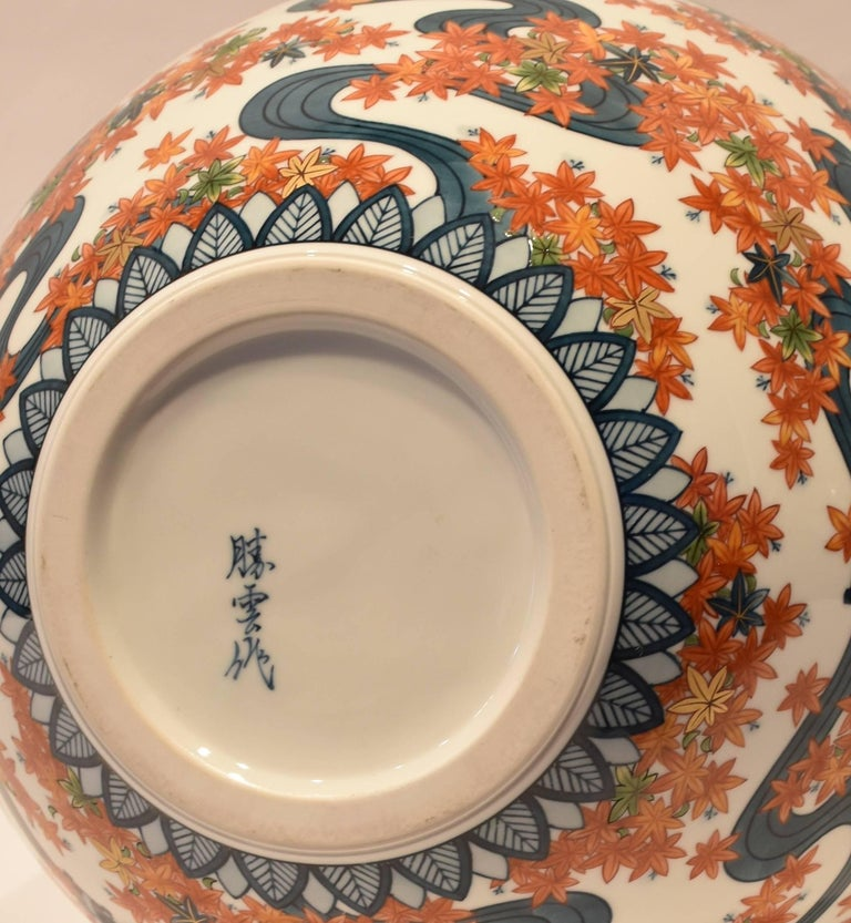 Large Japanese Imari Hand-Painted Decorative Porcelain Vase by Master Artist For Sale 3