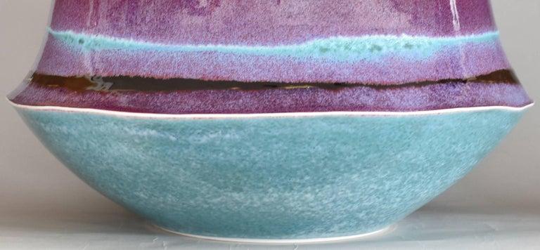 Glazed Large Japanese  Decorative Porcelain Vase by Master Artist For Sale