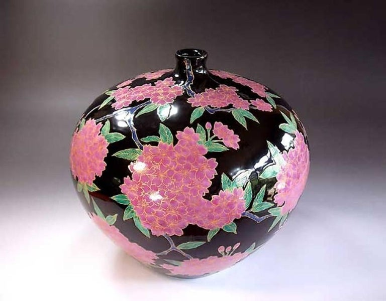 Japanese Ovoid Gilded Hand-Painted Porcelain Vase by Master Artist 2