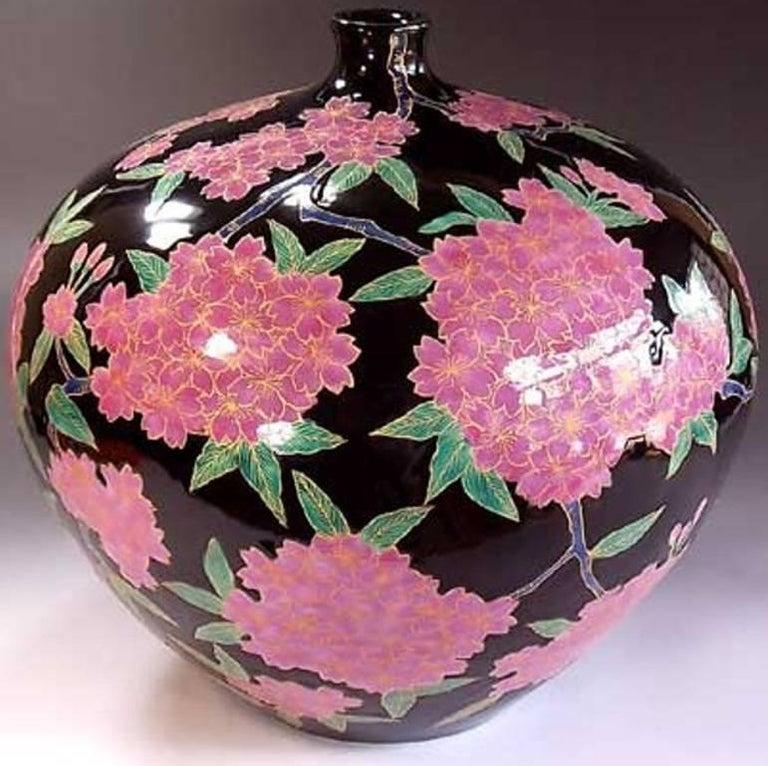 Japanese Ovoid Gilded Hand-Painted Porcelain Vase by Master Artist 4