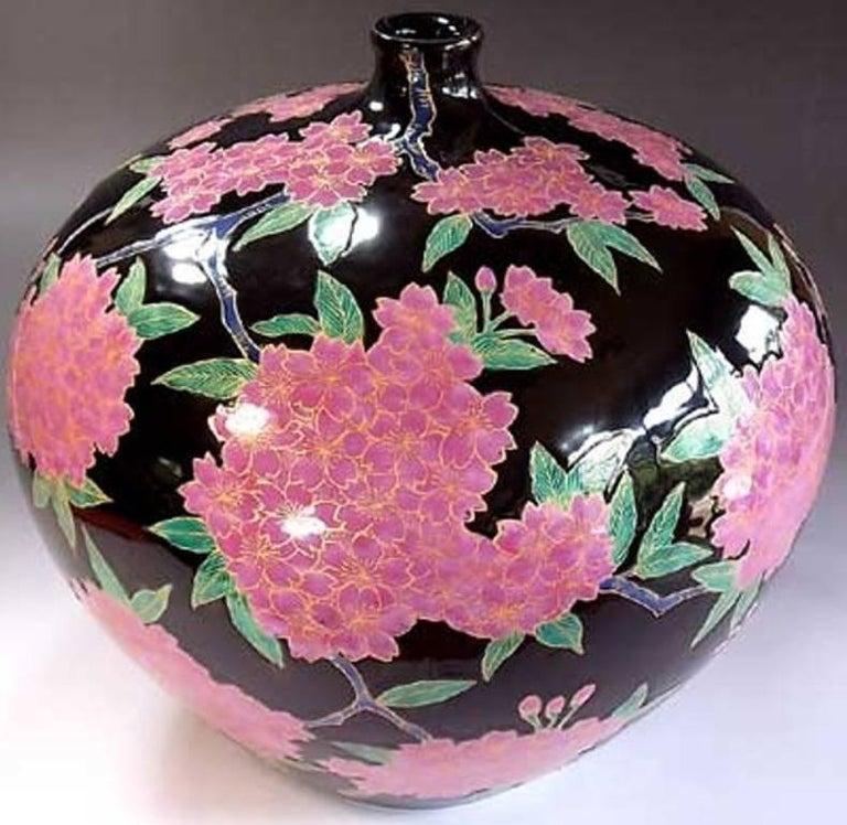 Japanese Ovoid Gilded Hand-Painted Porcelain Vase by Master Artist 5