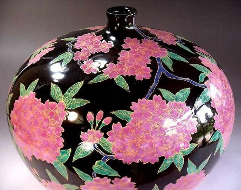 Japanese Ovoid Gilded Hand-Painted Porcelain Vase by Master Artist 3