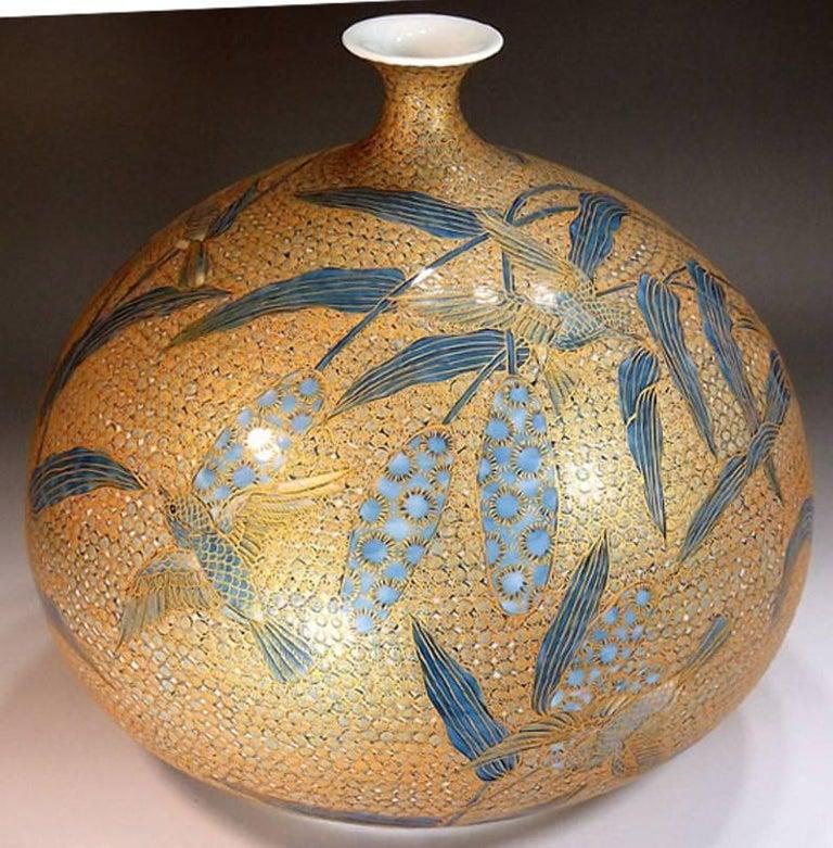 Large Japanese Hand-Painted Imari Decorative Porcelain Vase by Master Artist For Sale 4
