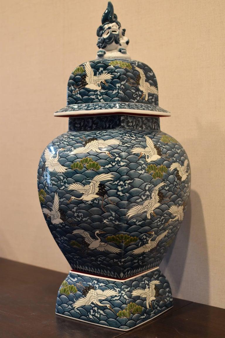 Large Japanese Blue Hand-Painted Porcelain Vase by Master Artist For Sale 5
