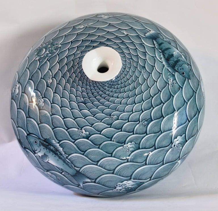 Large Japanese Blue Hand-Painted Porcelain Vase by Master Artist For Sale 3