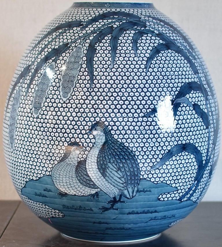 Large Japanese Blue Hand-Painted Porcelain Vase by Master Artist For Sale 6