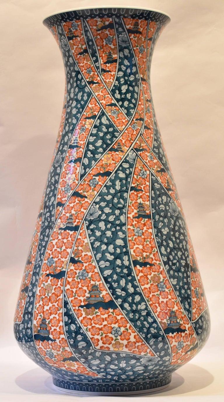 Japanese Hand-Painted Massive Imari Porcelain Vase by Master Artist For Sale 11