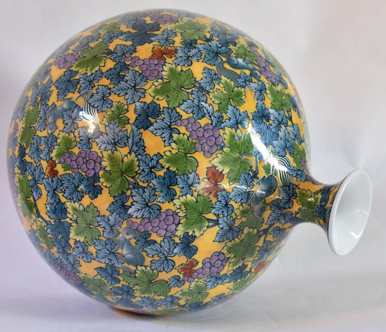 Japanese Large Hand-Painted Contemporary Porcelain Vase by Master Artist, Yellow In Excellent Condition For Sale In Vancouver, CA