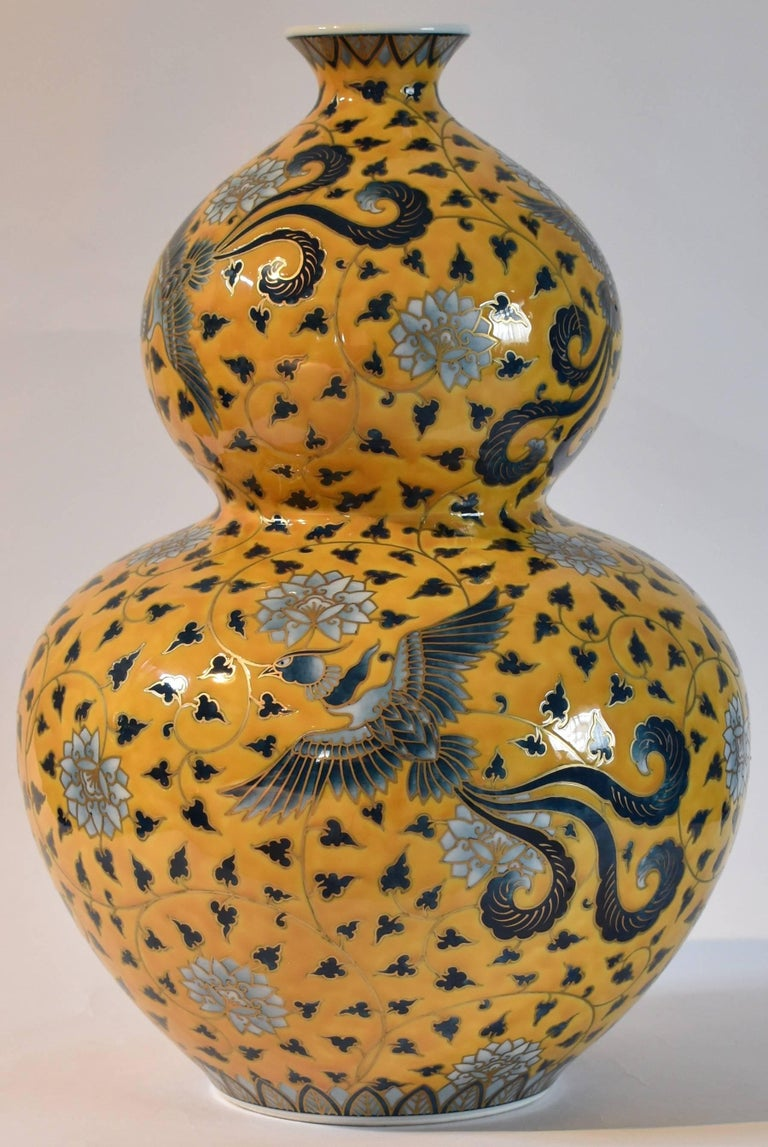 Japanese Large Hand-Painted Contemporary Porcelain Vase by Master Artist, Yellow For Sale 4