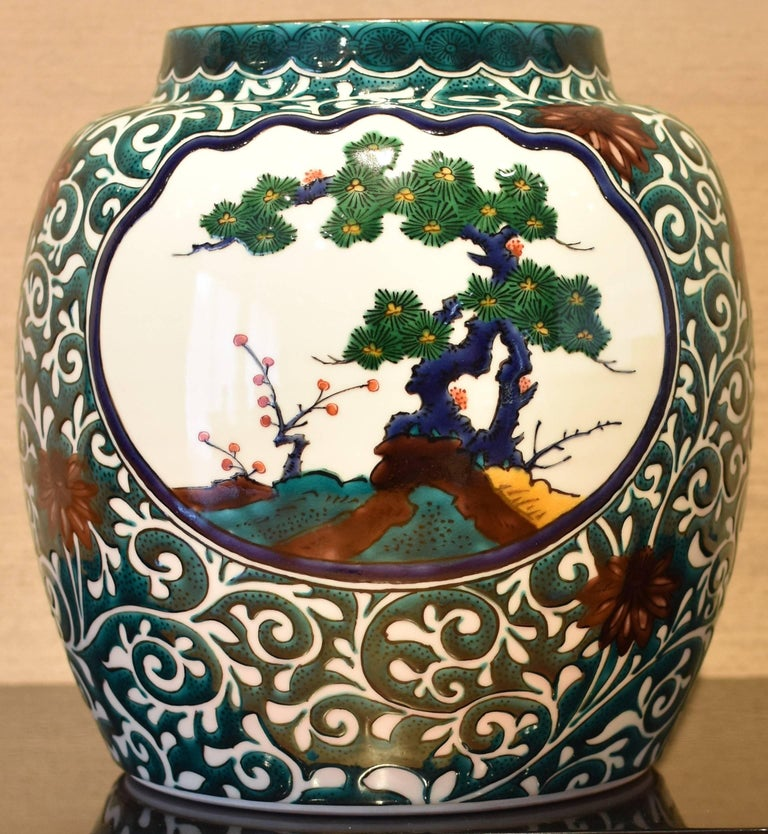 Kutani Contemporary Hand-Painted Large Porcelain Vase by Japanese Master Artist For Sale 4