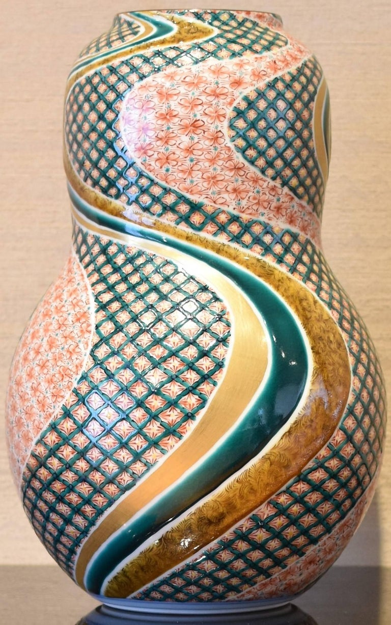 Gilt Kutani Contemporary Hand-Painted Large Porcelain Vase by Japanese Master Artist For Sale