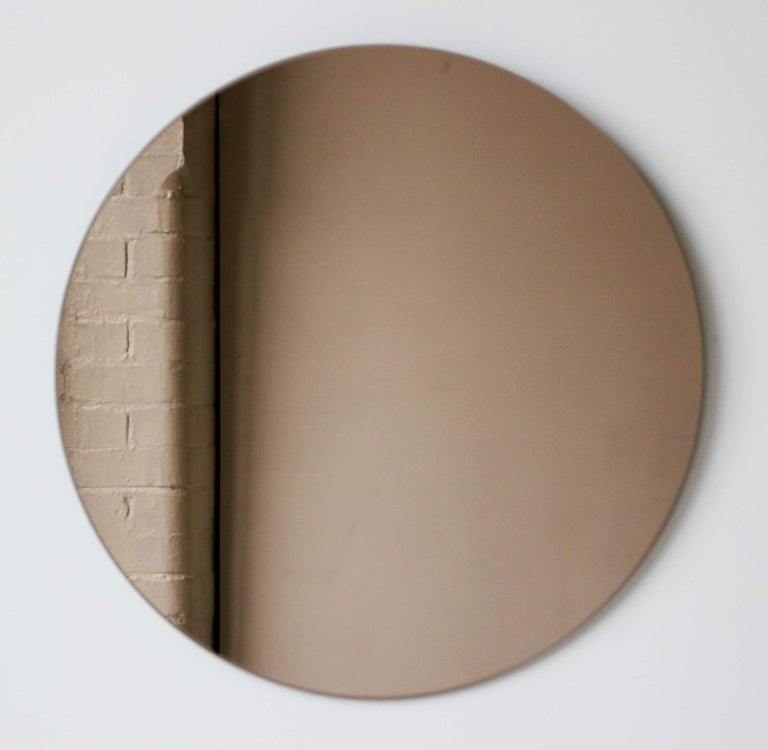 Contemporary Bronze Orbis Round Mirror, Frameless - Diam. 100cm / 39.4