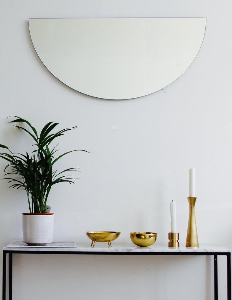 Modern Luna Orbis Semi Round Mirror Frameless, 1 Piece 100cm/39.7