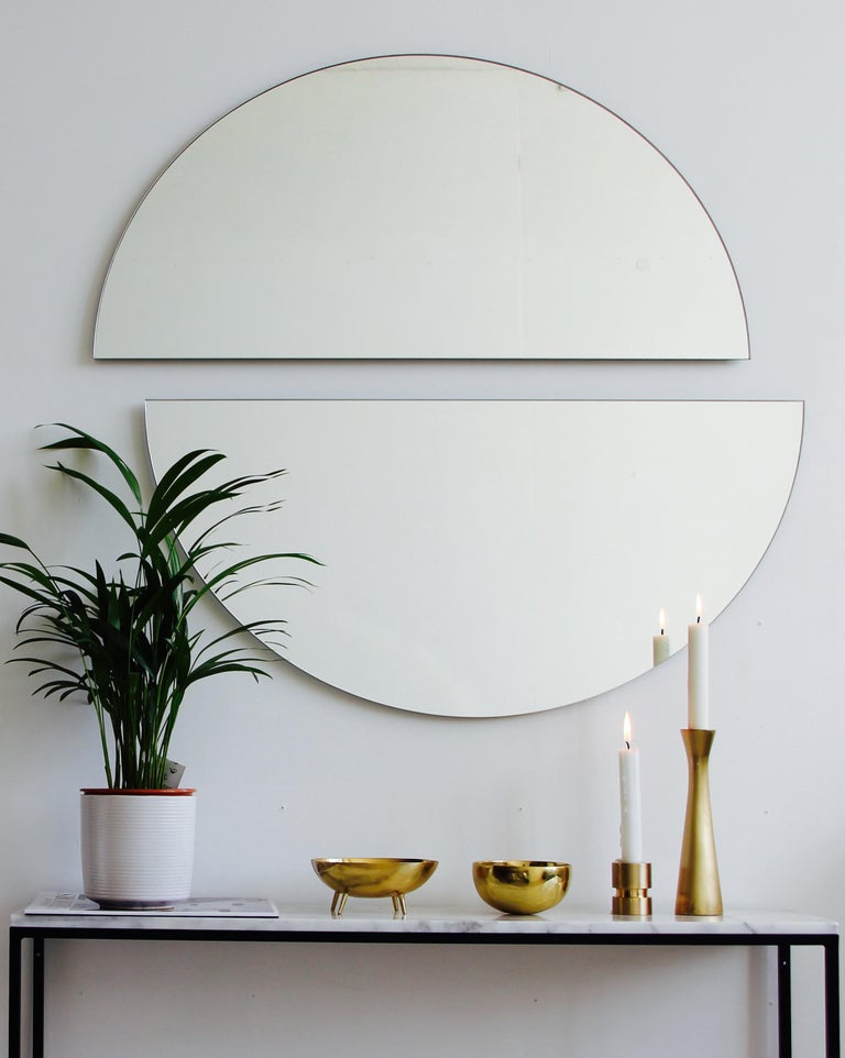 Silvered Luna Orbis Semi Round Mirror Frameless 100cm/39.4
