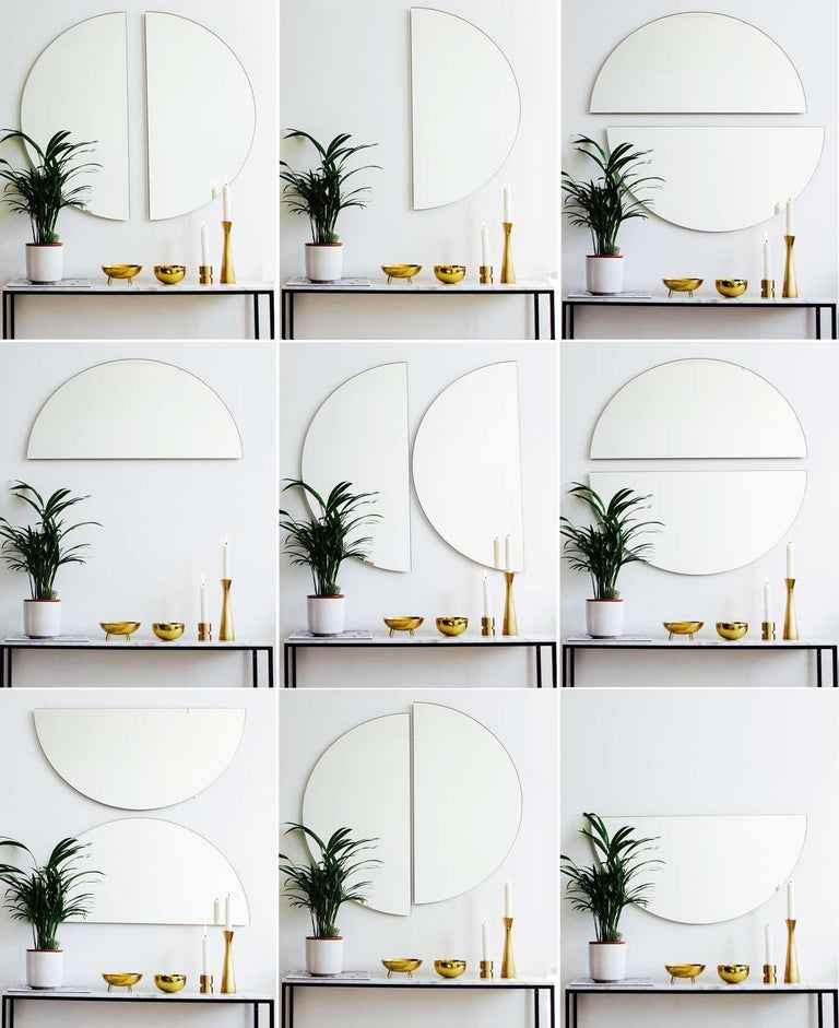 Contemporary Luna Orbis Semi Round Mirror Frameless 100cm/39.4