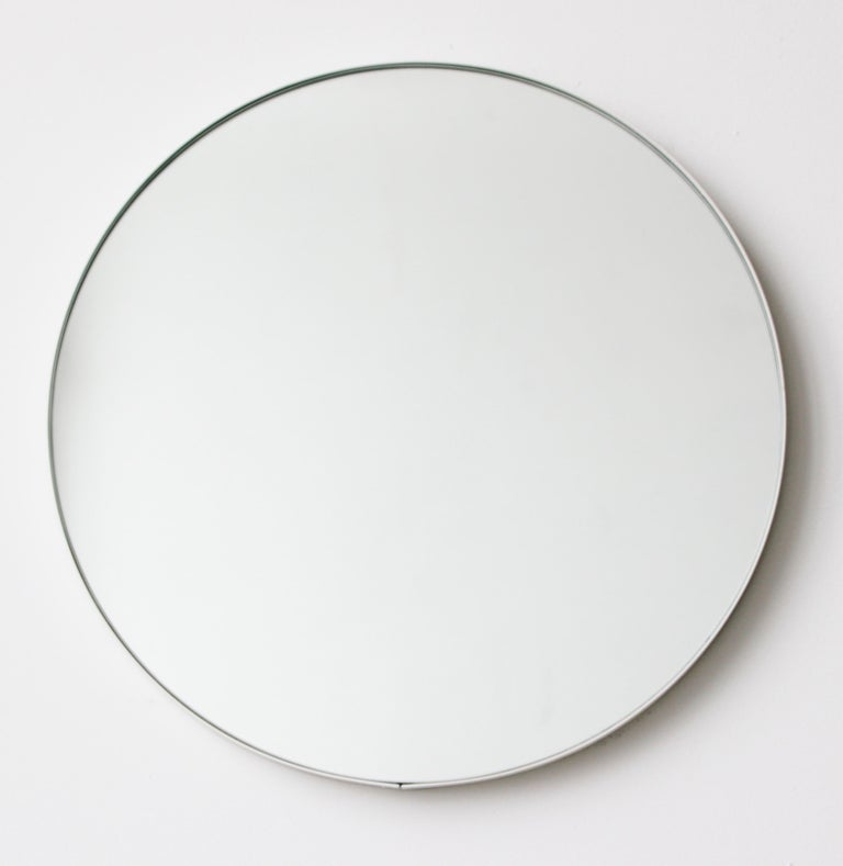 British Silver Orbis Round Mirror with White Frame  For Sale