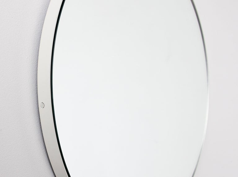 Powder-Coated Silver Orbis Round Mirror with White Frame  For Sale