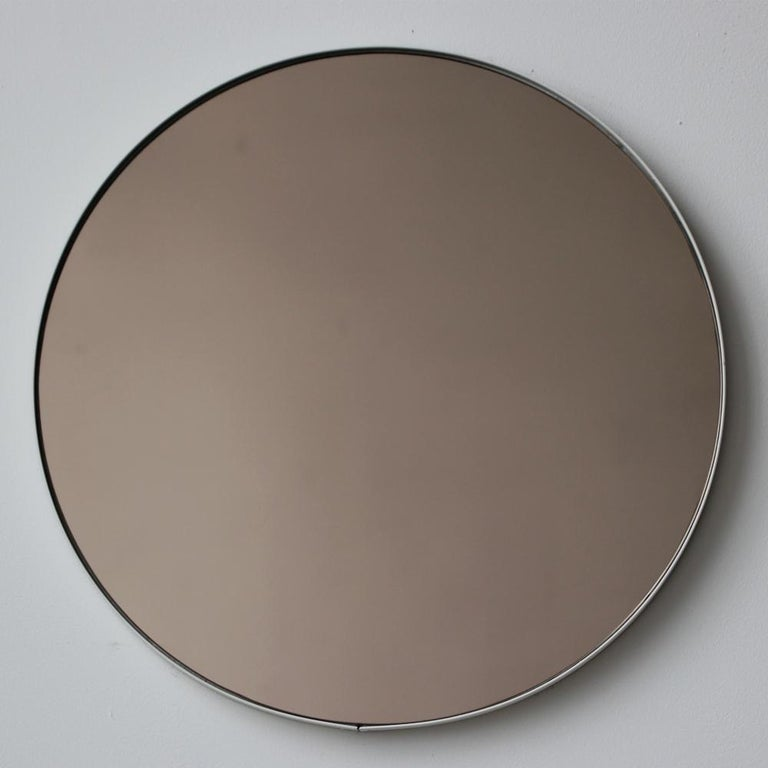 Organic Modern Bronze Tinted Orbis Round Mirror with White Frame For Sale