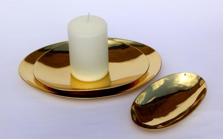 Modern Set of Handmade Cast Brass Plates For Sale