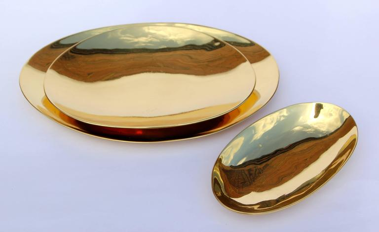 Indian Set of Handmade Cast Brass Plates For Sale