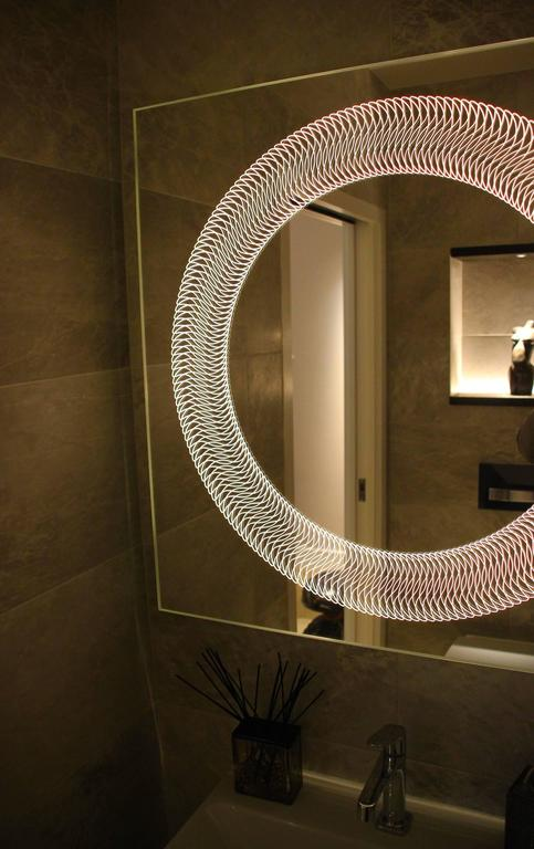Contemporary Modern Frameless Finely Etched Back Illuminated Square Glazz Cosmic Mirror For Sale