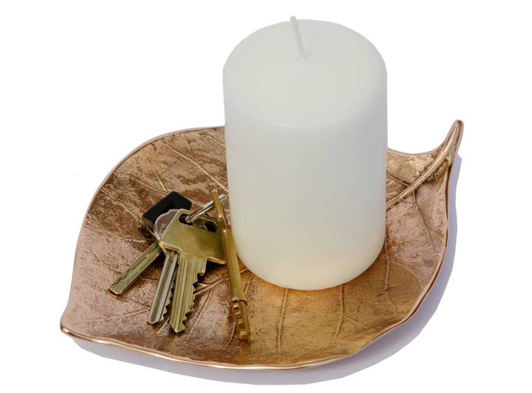 Organic Modern Decorative Handmade Cast Bronze Leaf Also Used as a Candleholder For Sale