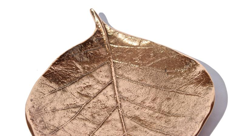 Polished Decorative Handmade Cast Bronze Leaf Also Used as a Candleholder For Sale
