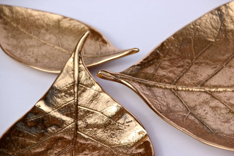 Candleholder Cluster of Three Handmade Cast Bronze Leaves In New Condition For Sale In London, GB