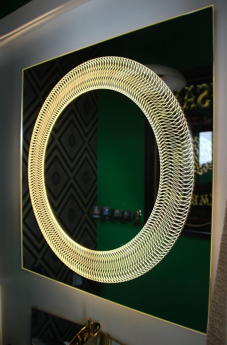 Modern Frameless Finely Etched Back Illuminated Square Glazz Cosmic Mirror In New Condition For Sale In London, GB