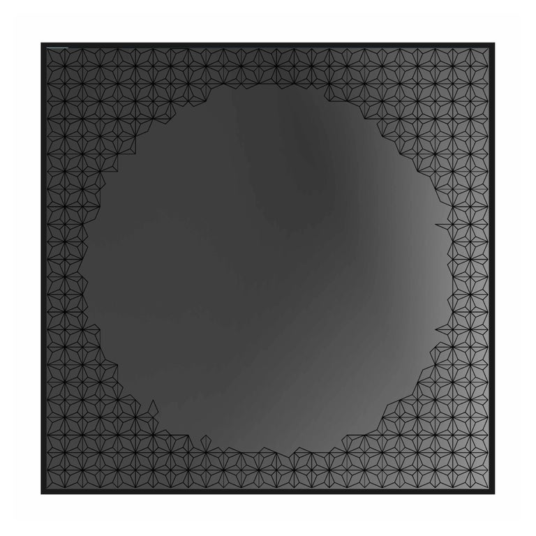 Modern Estrella Mirror, Finely Etched Pattern Back-Illuminated with Black Frame For Sale