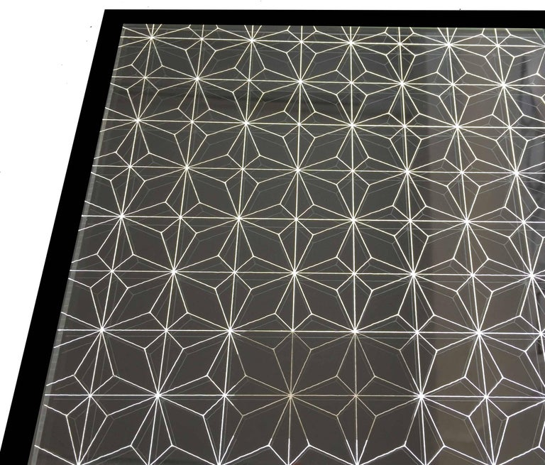 British Estrella Mirror, Finely Etched Pattern Back-Illuminated with Black Frame For Sale