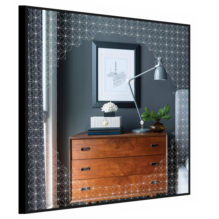 Estrella Mirror, Finely Etched Pattern Back-Illuminated with Black Frame In New Condition For Sale In London, GB