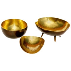 Set of Three Cast Brass Bowls with Texture and Patinated