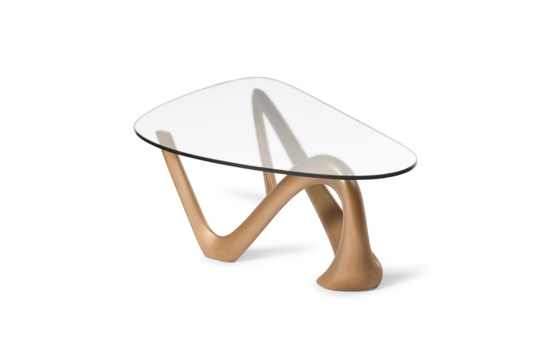 American Iris Coffee Table Gold Finish  For Sale