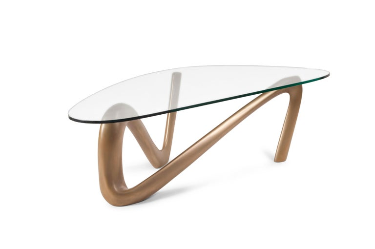 Carved Iris Coffee Table Gold Finish  For Sale