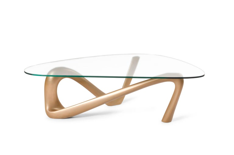 Iris Coffee Table Gold Finish  In New Condition For Sale In Gardena, CA