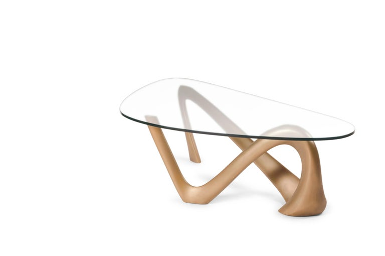 Wood Iris Coffee Table Gold Finish  For Sale