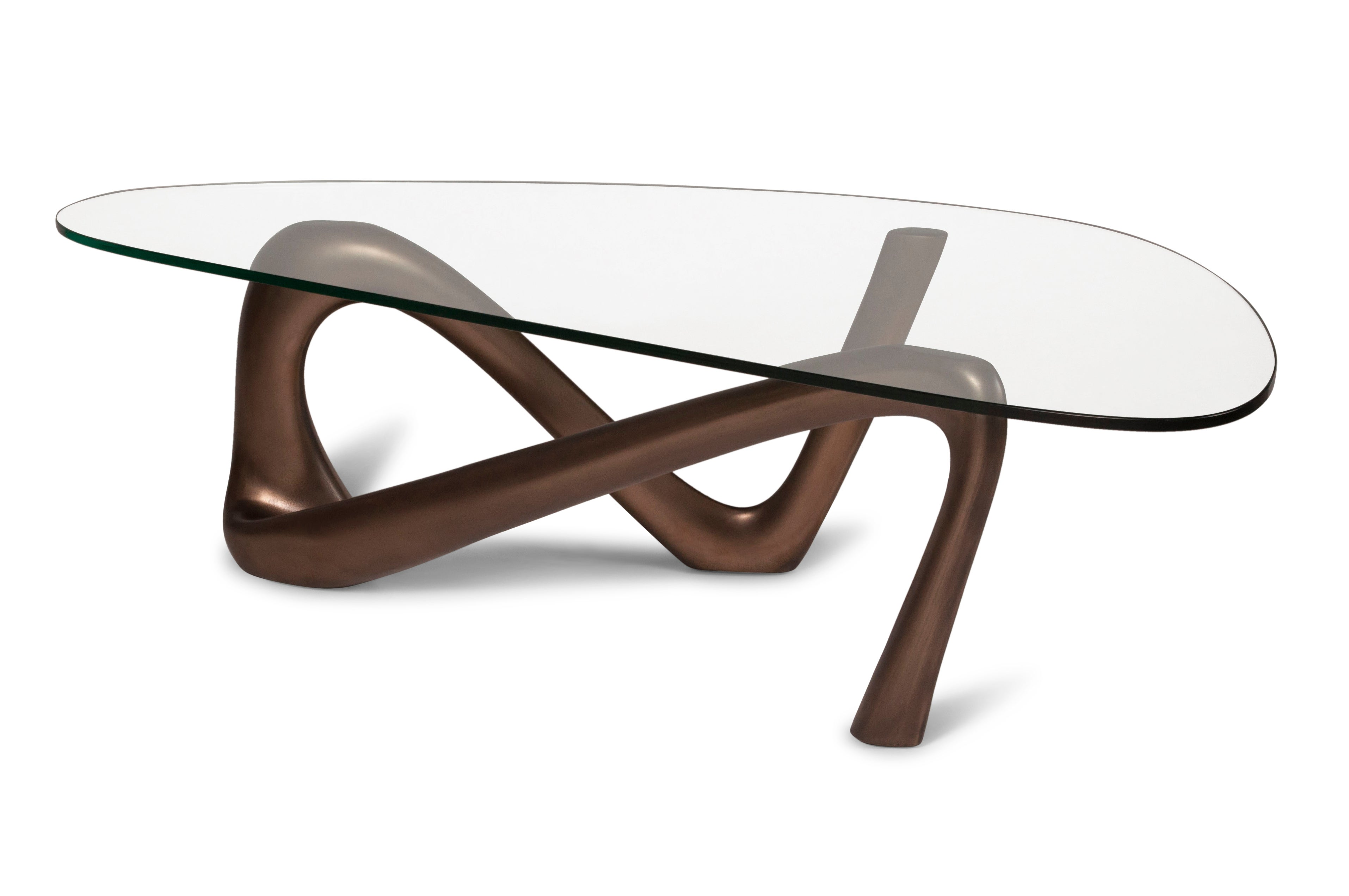 Iris Coffee Table With Glass Dark Bronze Finish For Sale At 1stdibs