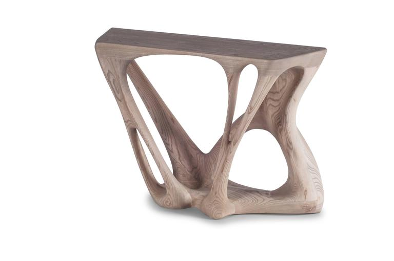 Contemporary modern console table solid wood dynamic for Unique console tables for sale