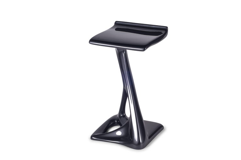 Carved Amorph Attitude Bar Stool, Lacquered Metallic Dark  Gray  For Sale