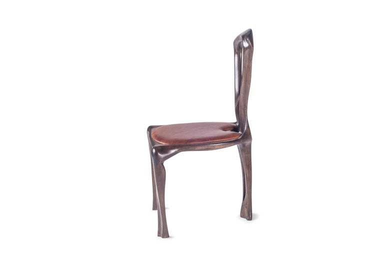 American Amorph Gazelle Dining Chair, Solid Wood, Stained Graphite Walnut, For Sale