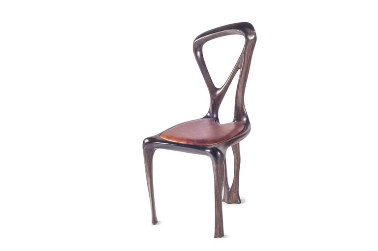 Amorph Gazelle Dining Chair, Solid Wood, Stained Graphite Walnut, In New Condition For Sale In Gardena, CA