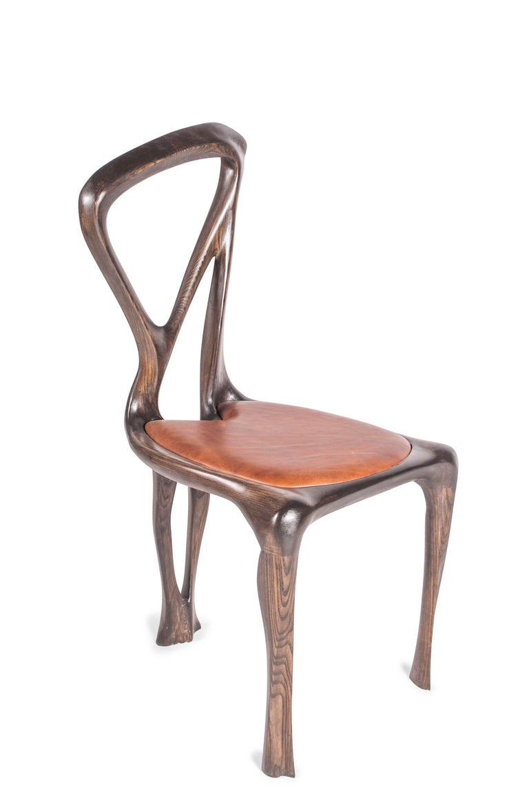 Leather Amorph Gazelle Dining Chair, Solid Wood, Stained Graphite Walnut, For Sale