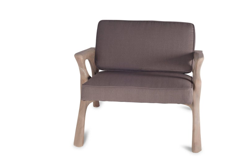 American Amorph Hermes Armchair, Weather Gray Stained For Sale