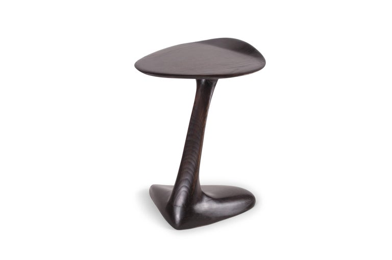 Carved Amorph Palm Side Table, Solid Wood, Red wine stained  For Sale