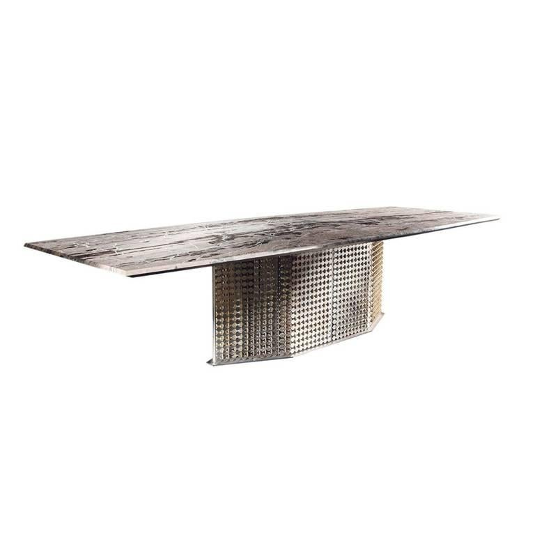 S-Penny Dining Table with Marble Stone Top and Silver Base