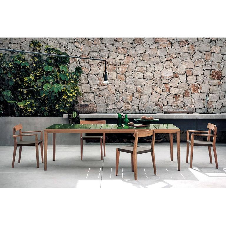 The Teka Roda collection includes the ability to innovate and match  harmoniously natural materials and sophisticated - Roda Teka Outdoor 174 Dining Table In Teak With Glazed Stoneware Top