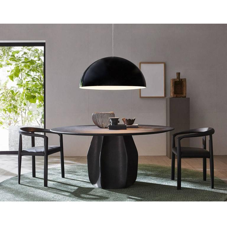 Molteni Miss Dining Armchair in Black Tinted Ash with Leather Seat In New Condition For Sale In Boston, MA