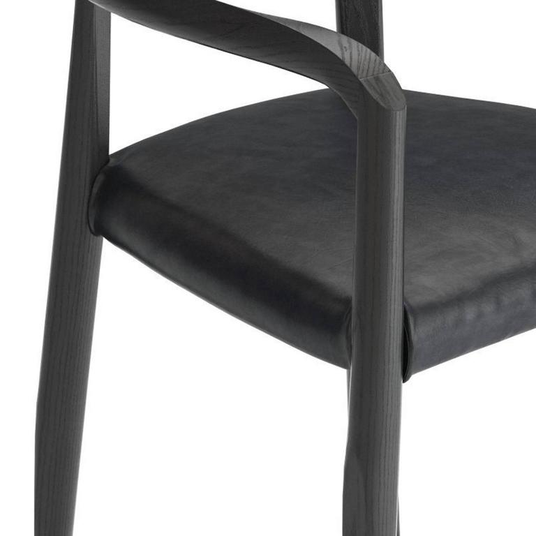 Modern Molteni Miss Dining Armchair in Black Tinted Ash with Leather Seat For Sale
