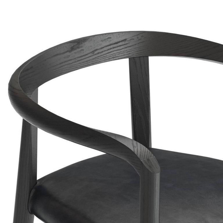Italian Molteni Miss Dining Armchair in Black Tinted Ash with Leather Seat For Sale